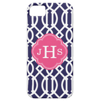 Coque Barely There iPhone 5 Bleu marine et monogramme moderne rose de coutume