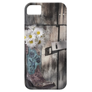 Coque Barely There iPhone 5 Botte de cowboy en bois de grange de marguerite de