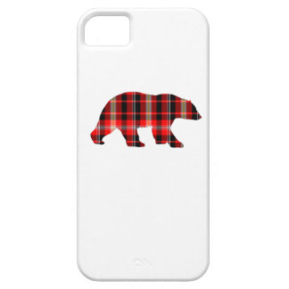 Coque Barely There iPhone 5 Couverture de téléphone d'ours de plaid