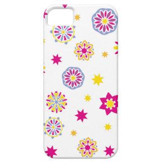 Coque Barely There iPhone 5 Fleurs roses, jaunes et bleues abstraites colorées