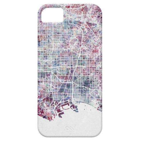 Coque Barely There iPhone 5 Los Angeles map California watercolor painting