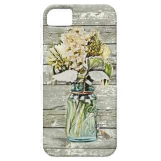 Coque Barely There iPhone 5 Pays français en bois de grange de fleur sauvage