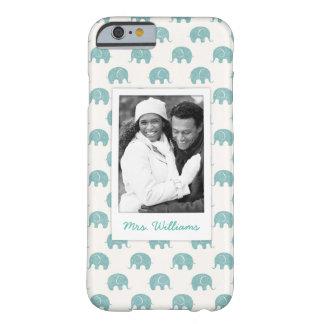 Coque Barely There iPhone 6 Ajoutez votre motif turquoise mignon d'éléphant de