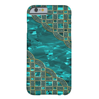 Coque Barely There iPhone 6 Aluminium vert turquoise, trellis d'or de parties