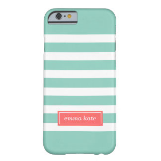 Coque Barely There iPhone 6 Aqua et monogramme de très bon goût de corail de