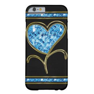 Coque Barely There iPhone 6 Bleu de diamant et fleur de coeur d'or
