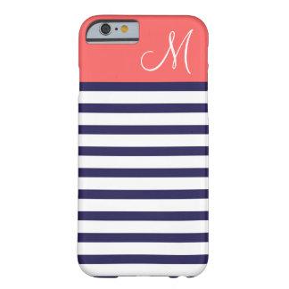 Coque Barely There iPhone 6 Bleu marine et monogramme de très bon goût de