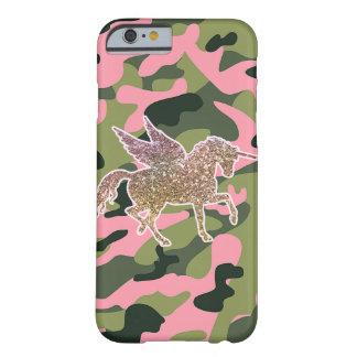Coque Barely There iPhone 6 Camouflage de Camo et licorne verts roses de
