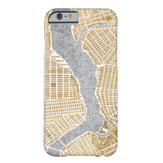 Coque Barely There iPhone 6 Carte dorée de ville de New York