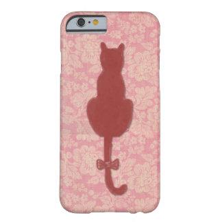 Coque Barely There iPhone 6 Cas rose de téléphone de silhouette de chat