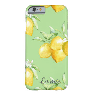 Coque Barely There iPhone 6 Citrons jaunes sur vert clair