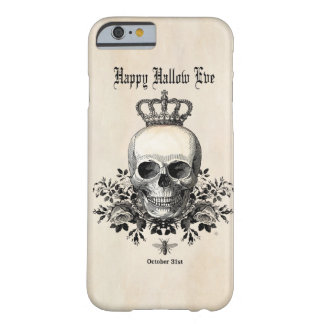Coque Barely There iPhone 6 Crâne et couronne vintages modernes de Halloween