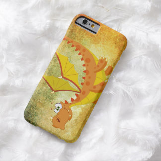 Coque Barely There iPhone 6 Dragon sur une texture orange