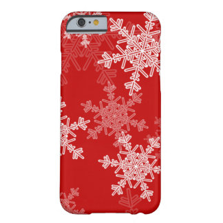 Coque Barely There iPhone 6 Flocons de neige Girly de Noël rouge et blanc