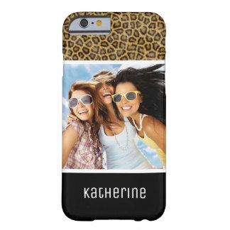 Coque Barely There iPhone 6 Fourrure faite sur commande de photo et de léopard