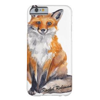 Coque Barely There iPhone 6 Fox beau d'aquarelle - personnalisé avec le nom