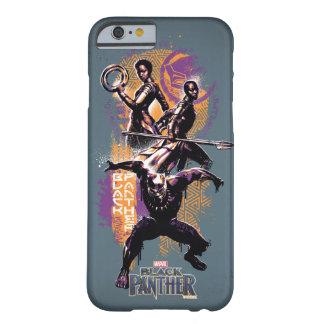 Coque Barely There iPhone 6 Guerriers de la panthère noire | Wakandan peints
