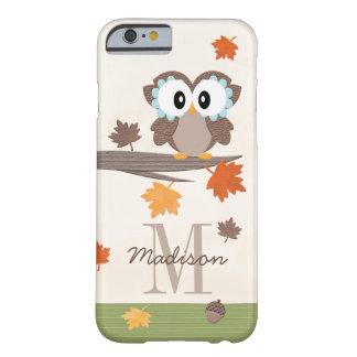 Coque Barely There iPhone 6 Hibou décoré d'un monogramme d'automne