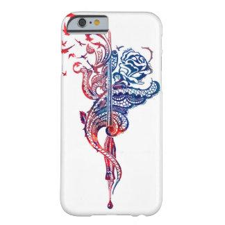 Coque Barely There iPhone 6 Illustration énervée de stylo, rose et d'oiseaux