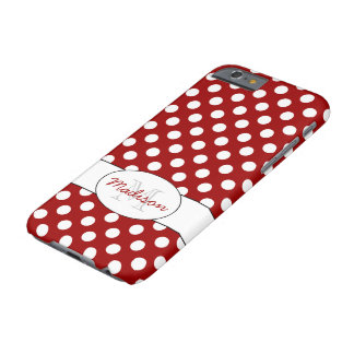 Coque Barely There iPhone 6 iPhone blanc rouge à la mode 6 de monogramme de