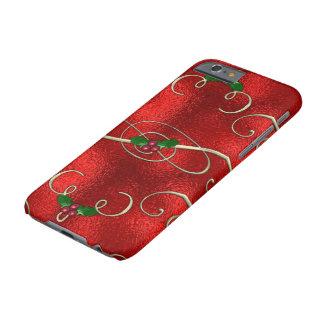 Coque Barely There iPhone 6 Le joli or tourbillonne avec le houx et les baies