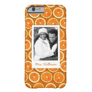 Coque Barely There iPhone 6 Le motif orange | de tranche ajoutent votre photo
