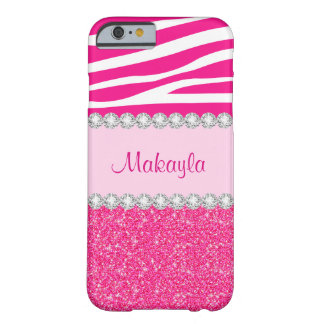 Coque Barely There iPhone 6 Les parties scintillantes roses faites sur