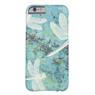 Coque Barely There iPhone 6 Libellules crèmes sur l'arrière - plan turquoise