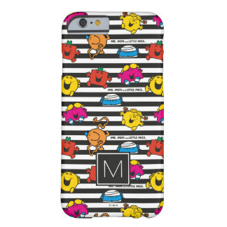 Coque Barely There iPhone 6 M. Men et petit monogramme du motif | de rayures