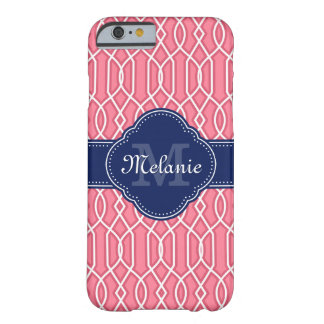Coque Barely There iPhone 6 Monogramme blanc rose lumineux de marine de motif
