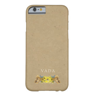 Coque Barely There iPhone 6 Monogramme rustique de tournesol