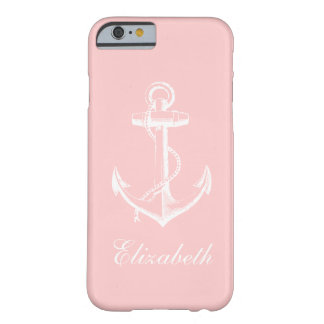 Coque Barely There iPhone 6 Monogramme vintage rose-clair de coutume d'ancre