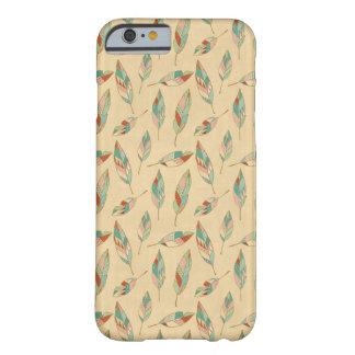 Coque Barely There iPhone 6 Motif de corail de plume d'étape   de Geo de