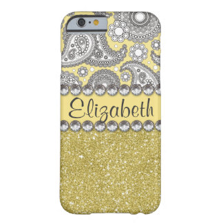 Coque Barely There iPhone 6 Motif de fausse pierre de Paisley de parties