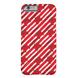 Coque Barely There iPhone 6 Motif de rayures de rouge de M. Strong |