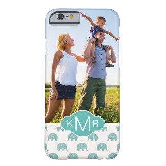 Coque Barely There iPhone 6 Motif turquoise mignon d'éléphant du monogramme |