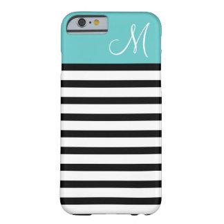 Coque Barely There iPhone 6 Noir et monogramme de très bon goût de coutume de