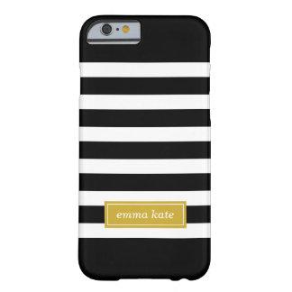 Coque Barely There iPhone 6 Noir et monogramme de très bon goût de rayures