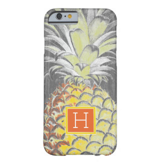 Coque Barely There iPhone 6 Pinneapple jaune tropical sur le gris