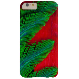 Coque Barely There iPhone 6 Plus Abrégé sur rouge et vert plume