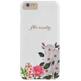 Coque Barely There iPhone 6 Plus Art floral personnalisé de fleurs roses