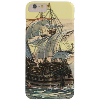 Coque Barely There iPhone 6 Plus Bateau de pirate vintage, navigation de galion sur