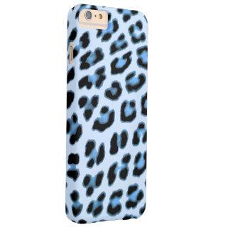Coque Barely There iPhone 6 Plus Caisse bleue d'empreinte de léopard