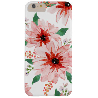 Coque Barely There iPhone 6 Plus Cas rose de Noël de baie de poinsettia