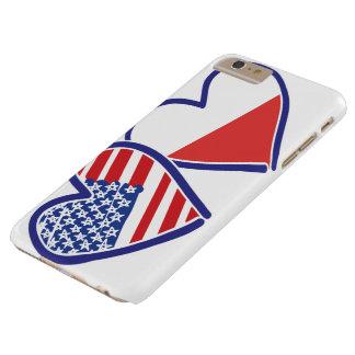 Coque Barely There iPhone 6 Plus Coeurs de drapeau des Etats-Unis Pologne