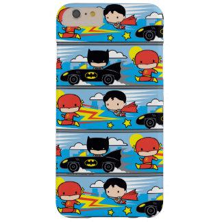 Coque Barely There iPhone 6 Plus Éclair, Superman, et Batman de Chibi emballant le