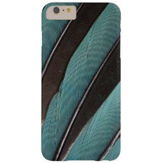 Coque Barely There iPhone 6 Plus Éventée conception bleue de plume