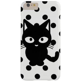 Coque Barely There iPhone 6 Plus le chat noir avec la poussée pointille le cas de