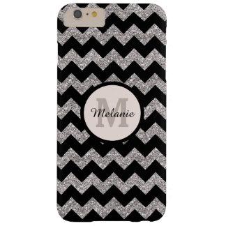 Coque Barely There iPhone 6 Plus Monogramme noir de gris argenté de Chevron