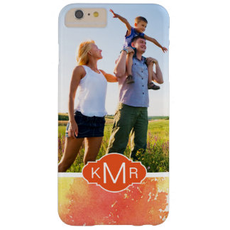 Coque Barely There iPhone 6 Plus Monogramme orange peint à la main abstrait de